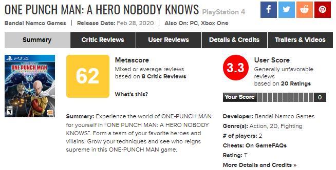 打击感太差 《一拳超人:无名英雄》Steam好评未过半