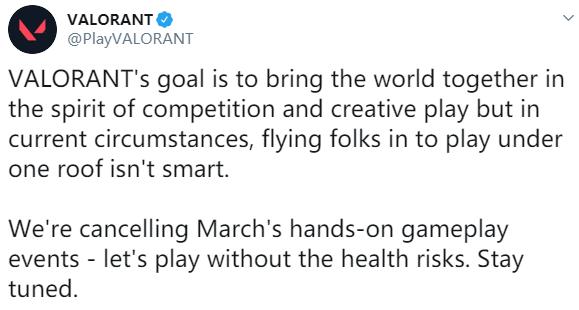 受疫情影响 拳头FPS《VALORANT》取消3月试玩活动