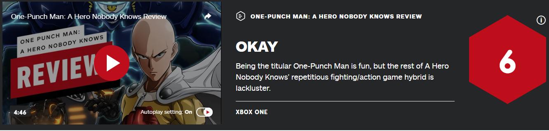 《一拳超人:无名英雄》IGN6分:比《Jump大乱斗》有进步