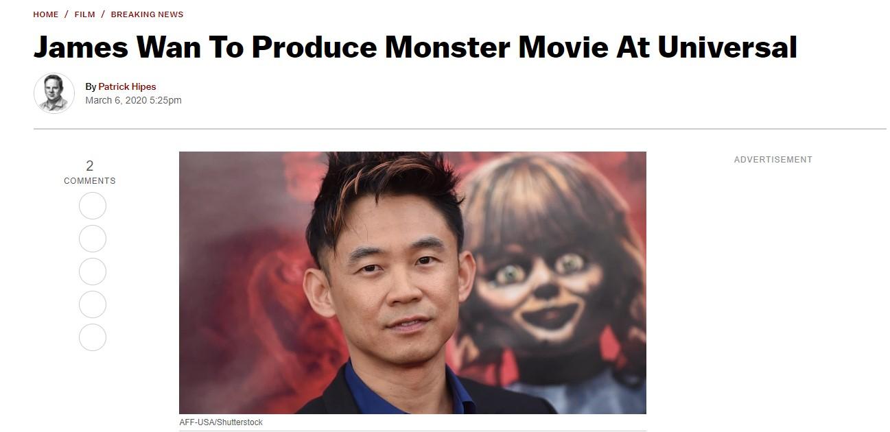外媒:温子仁将再为环球监制怪兽恐怖片