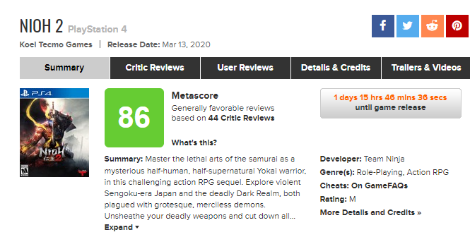 《仁王2》媒体评分解禁!IGN 9分 Game Informer 8.5分