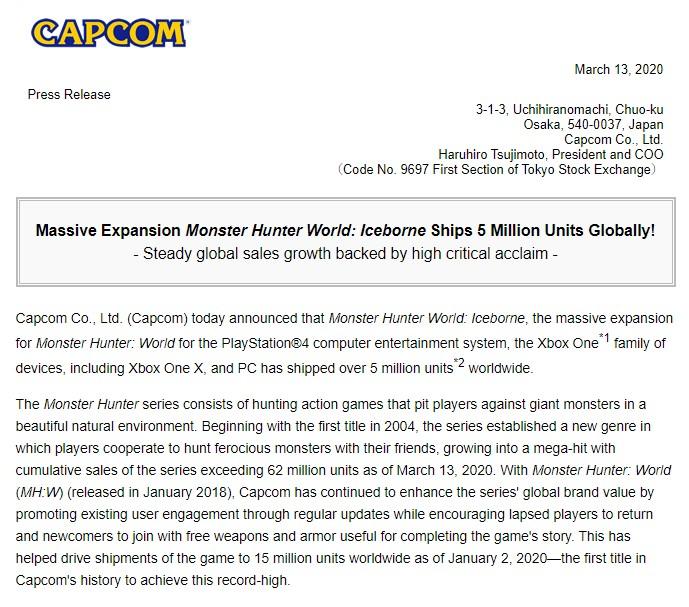 《怪物猎人》系列出货量突破6200万 《冰原》破500万