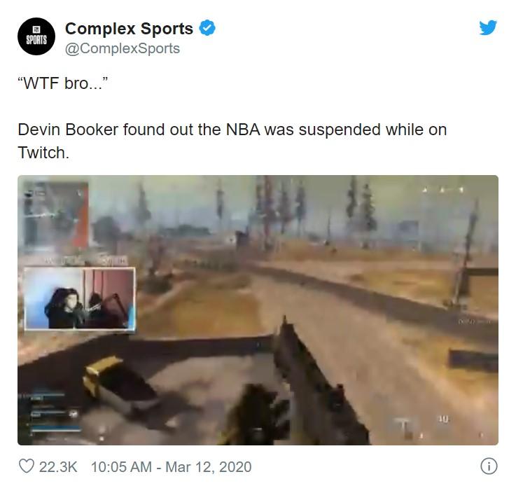 NBA球星布克 直播COD吃鸡时知道停摆大喊:WTF
