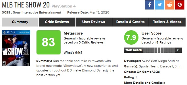 《MLB美职棒大联盟20》评分解禁IGN8分 M站均分83