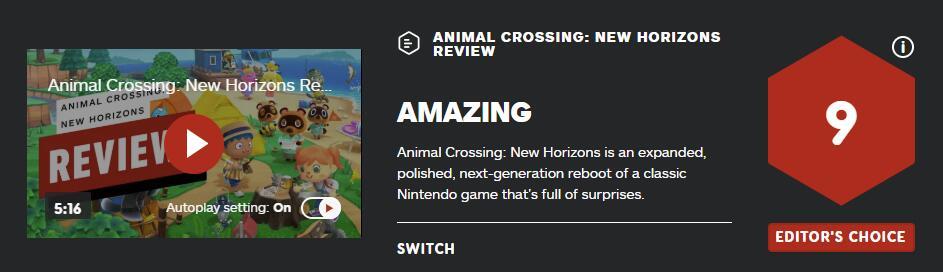 《动物森友会》评分出炉 IGN9分M站均分达92分