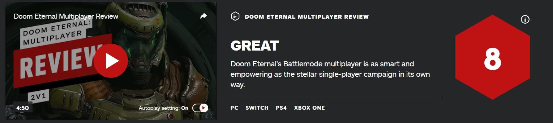 《毁灭战士:永恒》多人模式IGN 8分:和单人一样优秀