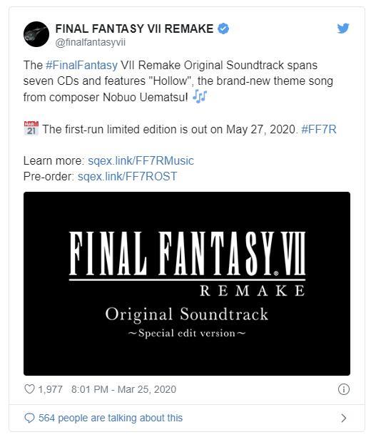 《最终幻想7:重制版》原声碟包含7CD 5/27发行