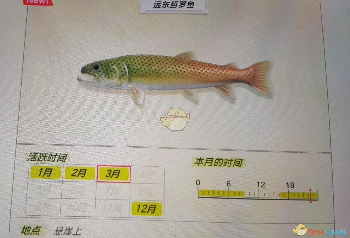 《動物森友會》懸崖魚類遠東哲羅魚圖鑑