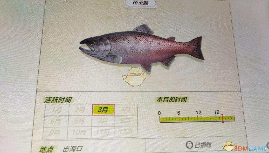 《動物森友會》出入海口魚類帝王鮭圖鑑