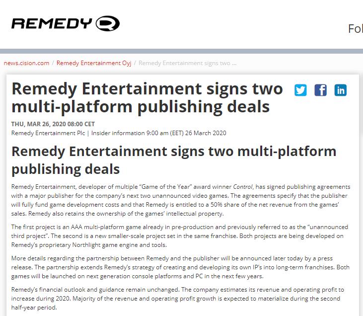 Remedy即将公开两款新作!其中一款为3A多平台巨制