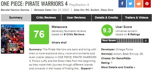 《海贼无双4》IGN 8分:无双与海贼王的完美融合