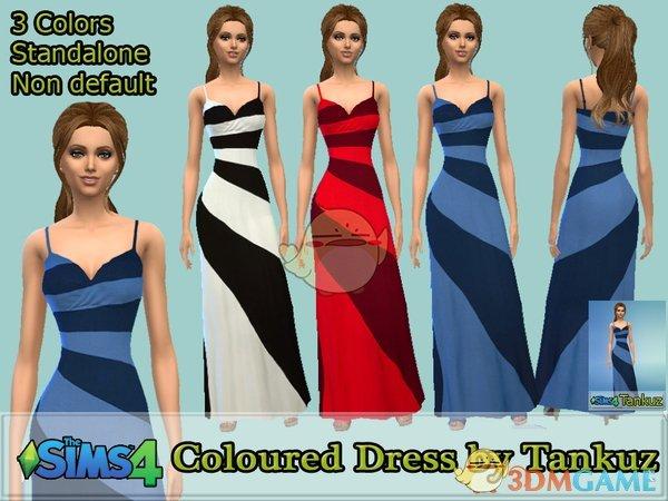 《模拟人生4》简洁条纹吊带连衣裙MOD