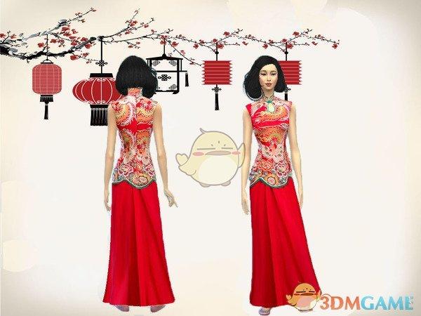 《模拟人生4》中国风旗袍MOD