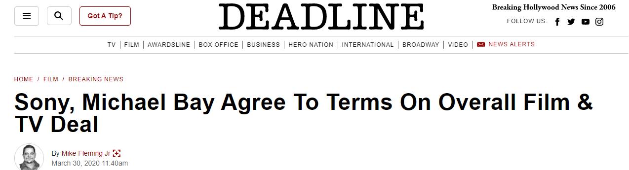 重投索尼怀抱 《变形金刚》导演迈克尔贝签下多年协议
