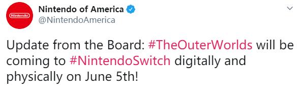 《天外世界》Switch版发售日公布 6月5日推出