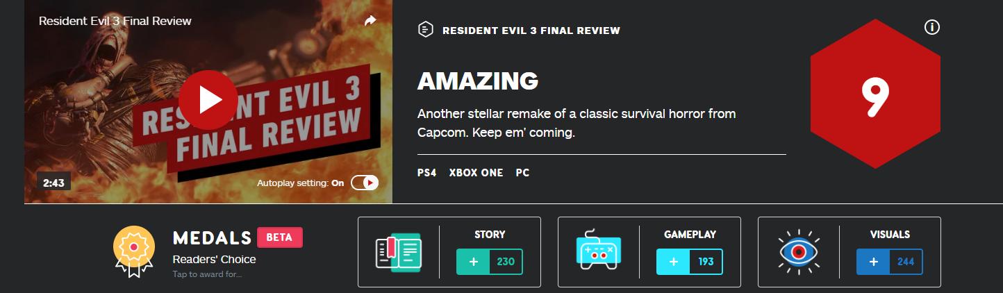 《生化危机3:重制版》IGN 9分!又一款经典的模范重制