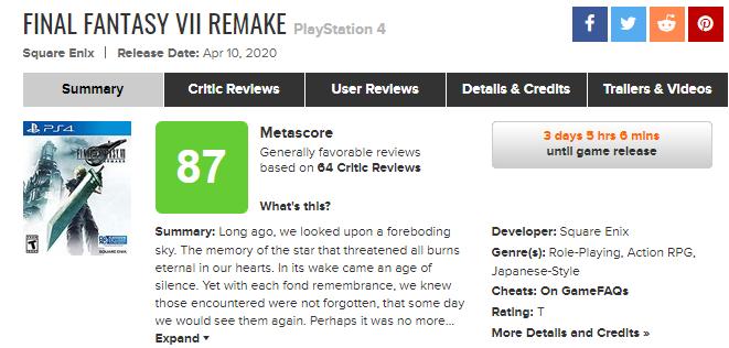 《最终幻想7:重制版》评分出炉 IGN 8分、GameSpot 10分