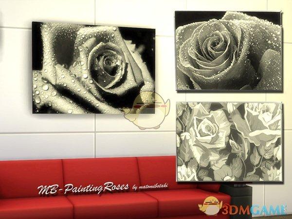 《模拟人生4》黑白风格玫瑰壁画MOD