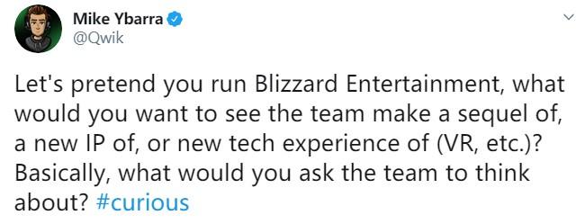 暴雪新副总裁问网友:你们想要我们做些什么?是新IP还是打造续作?
