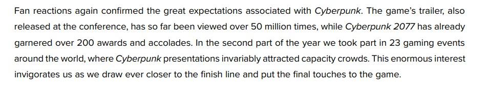 《赛博朋克2077》预告观看量破5千万 游戏获奖超200个