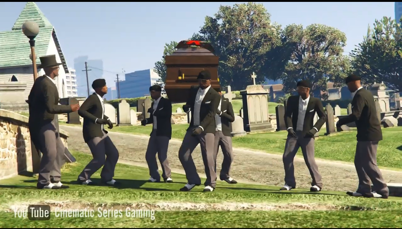 """洛圣都的专业团队!《GTA5》中还原爆红黑人""""抬棺舞"""""""