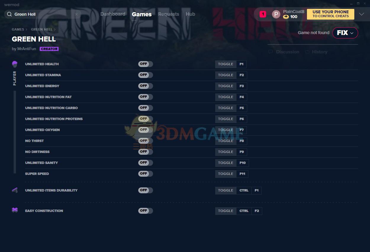 《绿色地狱》v1.5.1十三项修改器[MrAntiFun]