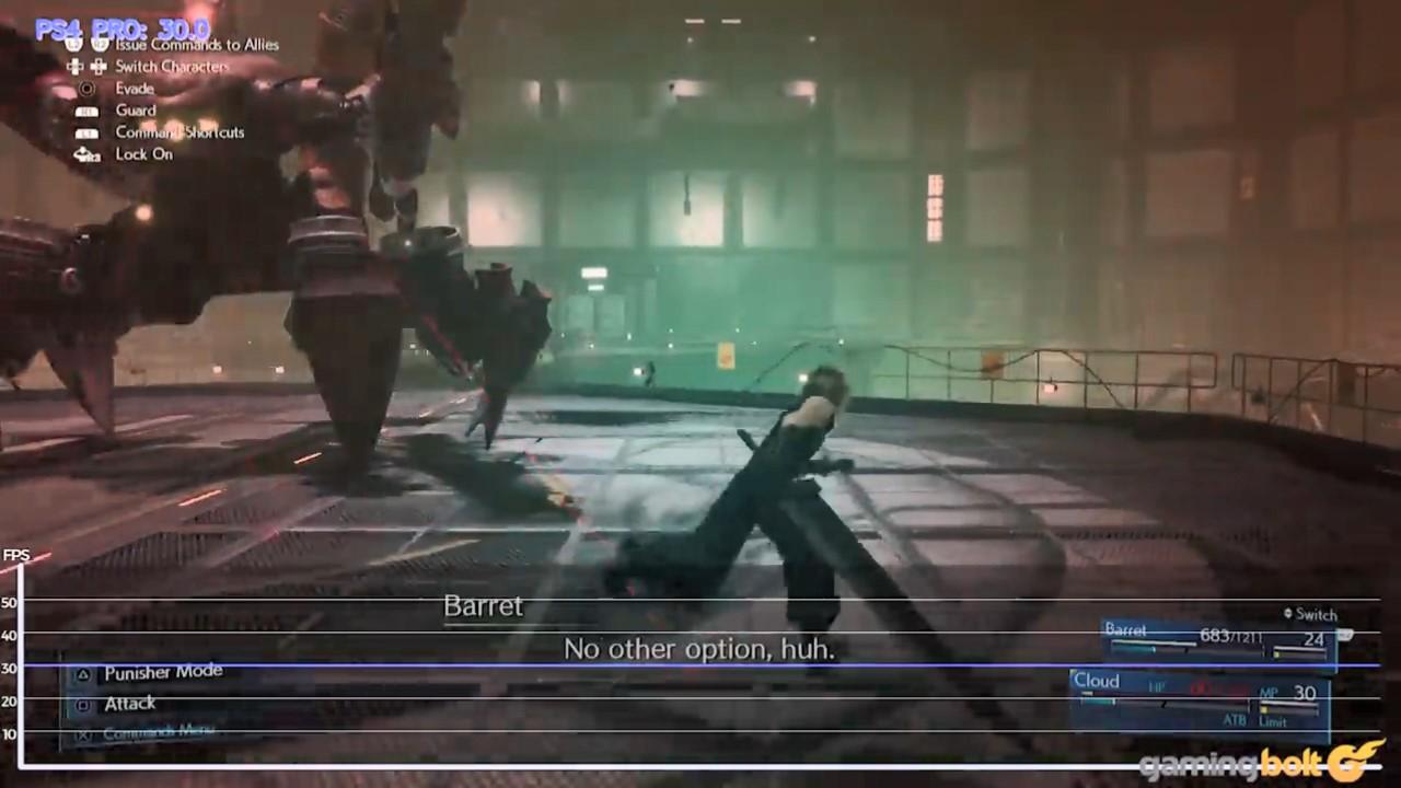 《最终幻想7:重制版》PS4/PS4 Pro帧数画面对比分析