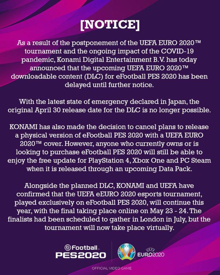 """《实况足球2020》""""欧洲杯""""DLC宣布延期 实体版取消"""