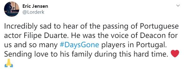 《往日不再》男主角配音演员不幸去世 享年46岁