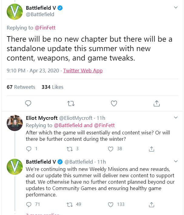 全面开发《战地6》?《战地5》最后一个更新6月上线