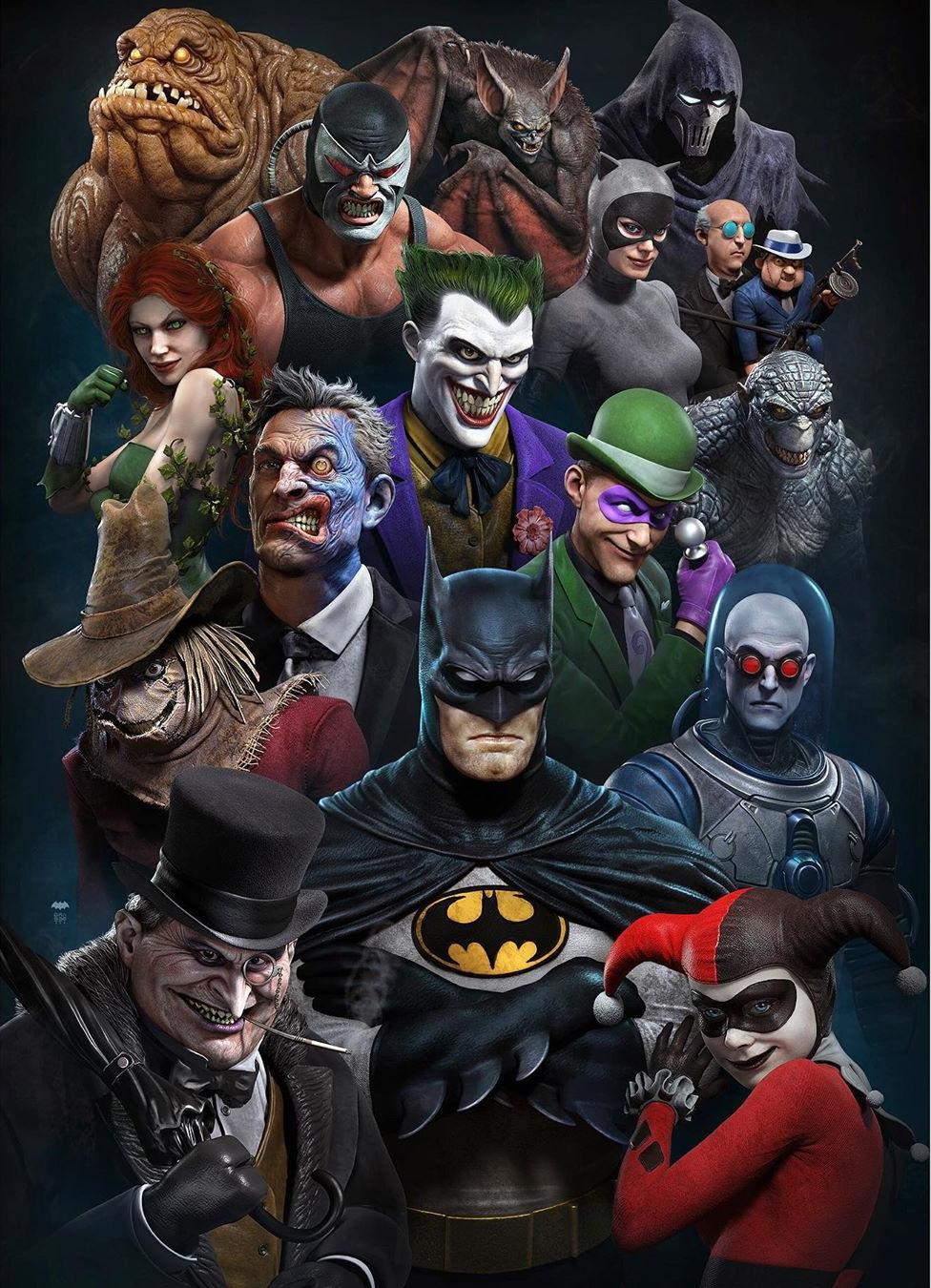 战神艺术总监绘制《蝙蝠侠》角色形象图 效果超赞