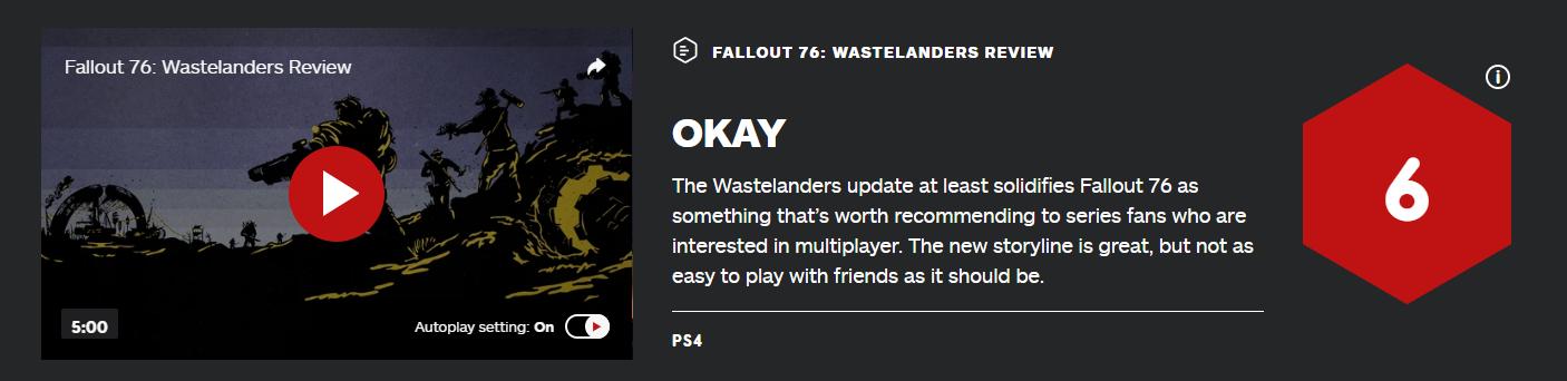 """IGN《辐射76》""""废土客""""DLC 6分!开了个好头 联机拉胯"""