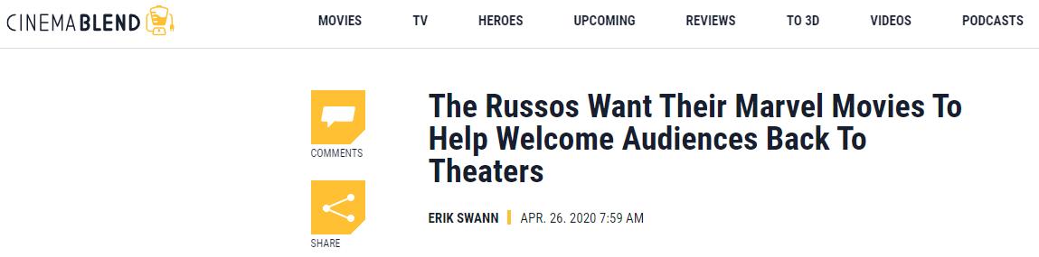 罗素兄弟想要在影业复工后再次重映《复联4》