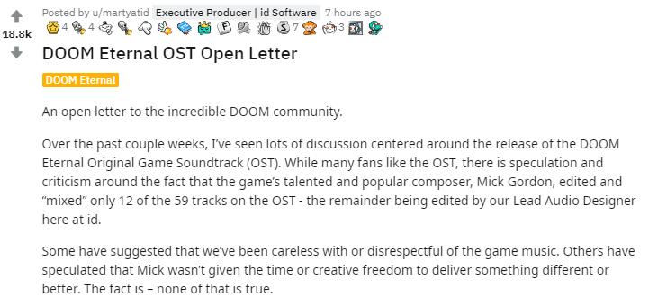 游戏新消息:不再合作毁灭战士永恒制作人回应和作曲家纠纷