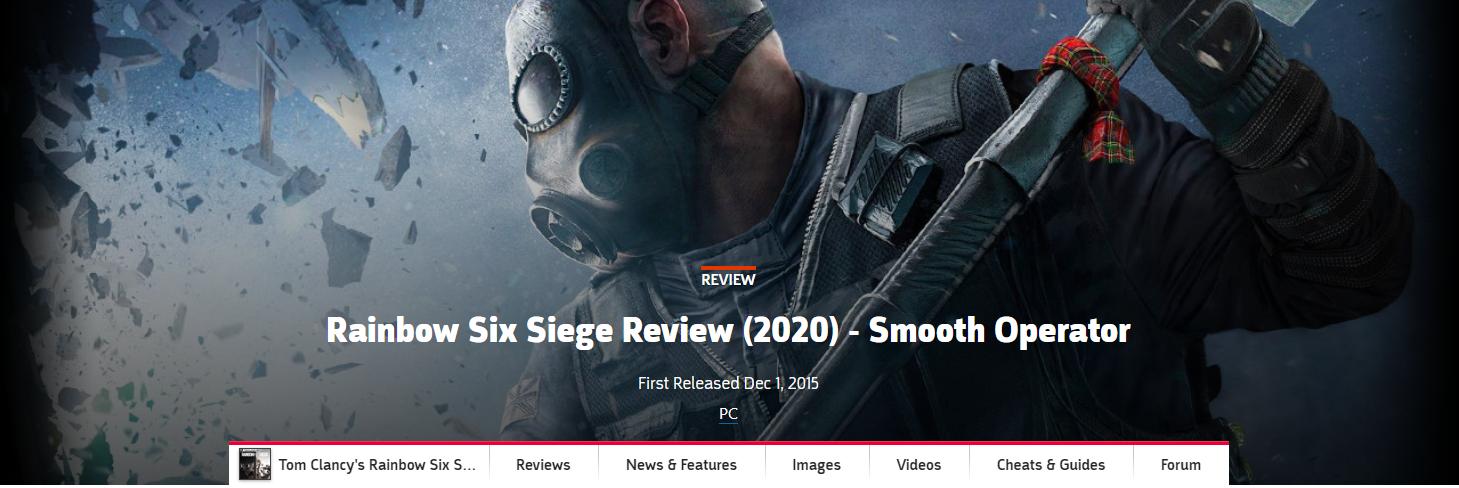 游戏新消息:GameSpot重评彩虹六号围攻给出10分好评
