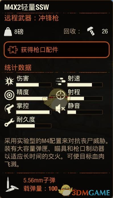 《腐烂国度2》M4X2轻量SSW冲锋枪属性分享