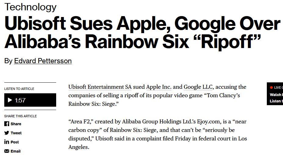 因上架《彩虹六号》高仿游戏 育碧起诉苹果、谷歌