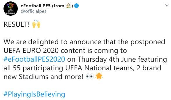 """55支球队参赛!《实况足球2020》""""欧洲杯""""6月4日推出"""