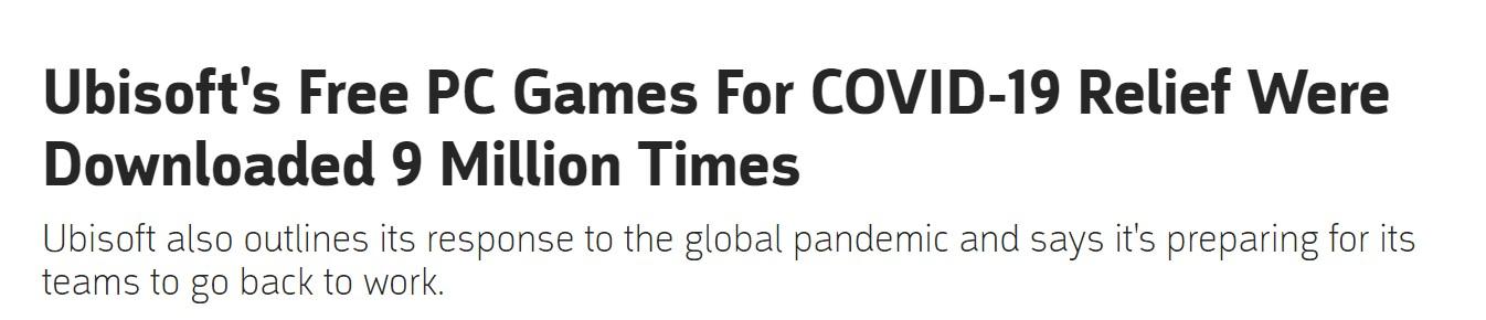 育碧PC免费游戏下载量达900万次 还进行了很多捐款