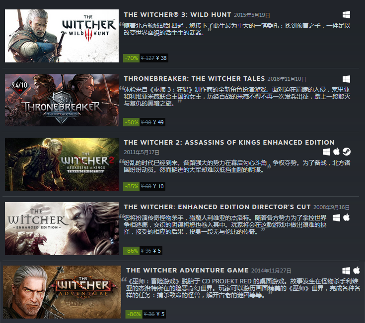 Steam《巫师》系列特惠:《巫师3》38元平史低价