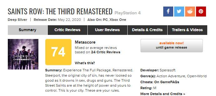 《黑道圣徒3:复刻版》IGN 7分 画面太过时