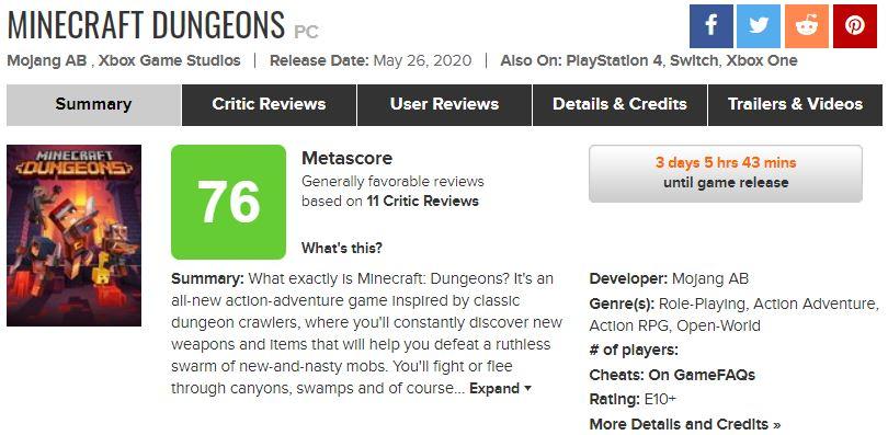 《我的国际:地下城》第一批媒体评分揭露 均分76分