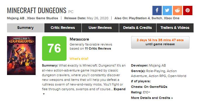 《我的世界:地下城》IGN 7分 好玩但缺乏深度