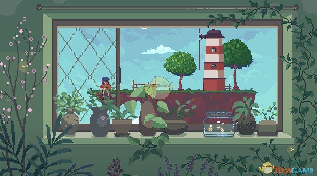 《Wallpaper Engine》像素风 - 盆栽窗台 - 浮空灯塔岛动态壁纸