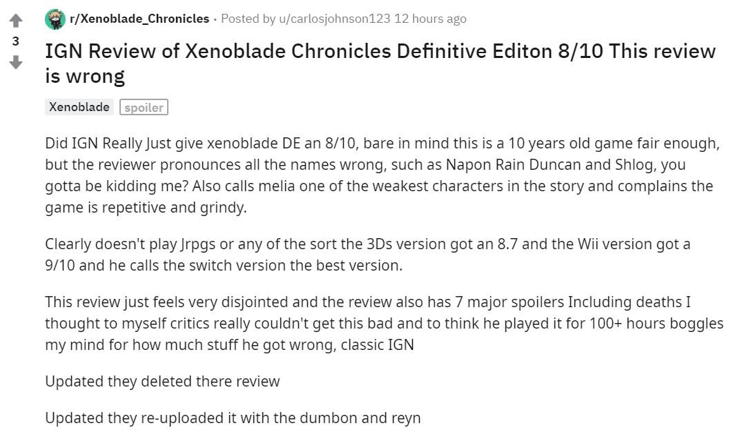 《异度神剑:终极版》IGN评测引玩家不满:低级错误太多 还有剧透