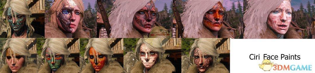 《巫师3:狂猎》希里十种脸部涂装MOD