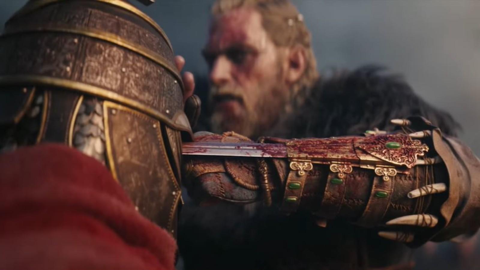 育碧把《刺客信条:英灵殿》主角的袖剑放在明