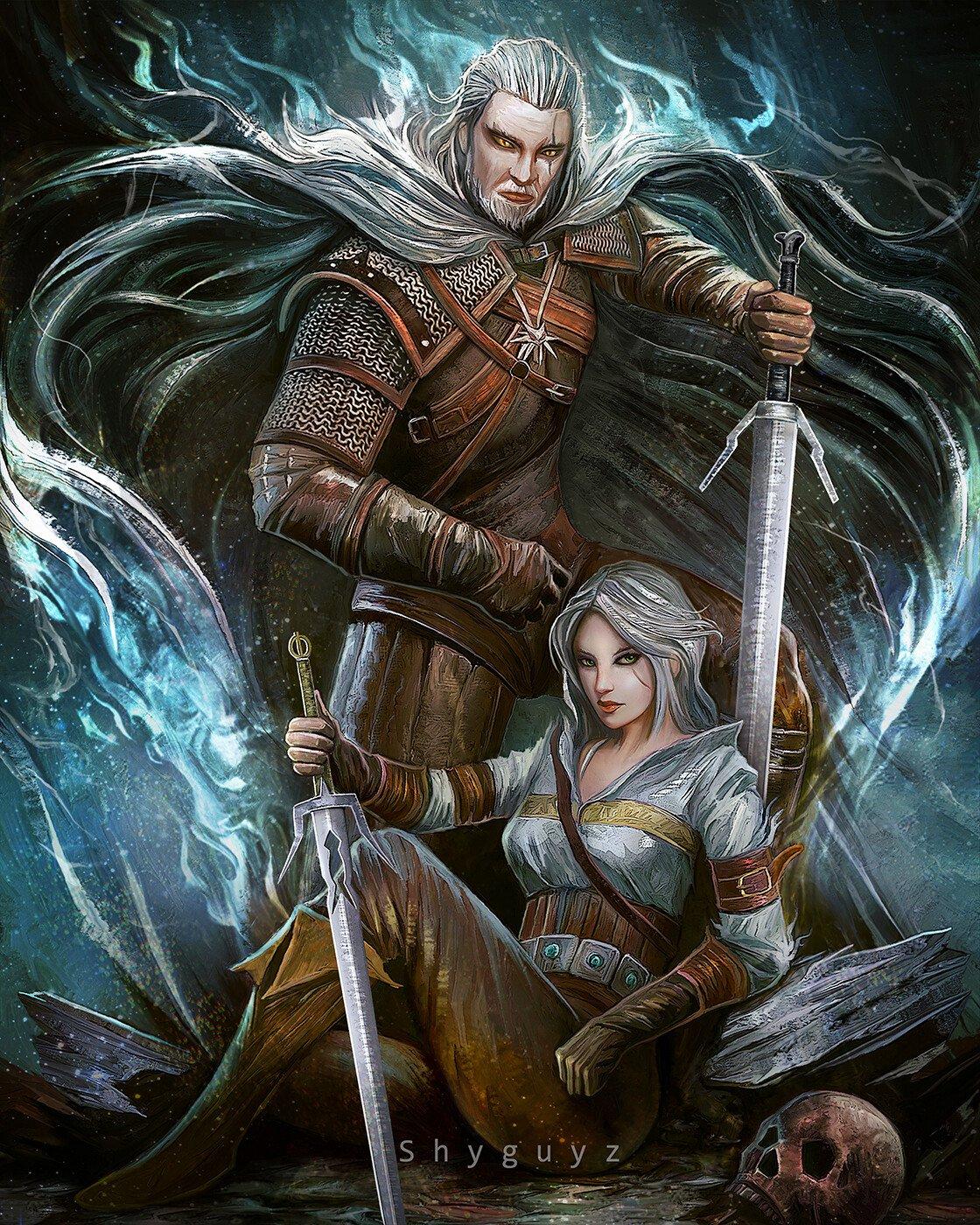 《巫师3》粉丝艺术图欣赏 白狼和希里组合画面唯美
