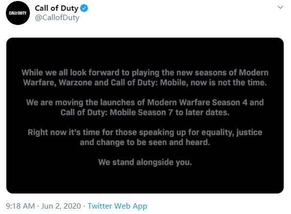 《使命召唤:现代战争》第四赛季延期