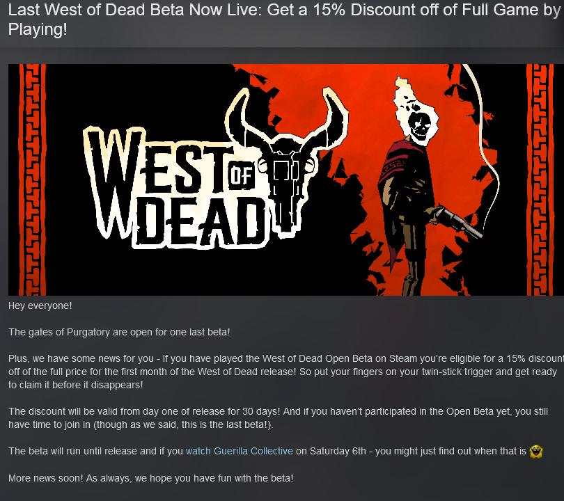 《死亡西部》官方:玩Beta版可享受游戏首发优惠